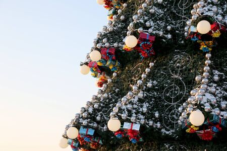 part of the big outdoor Christmas tree Stock Photo