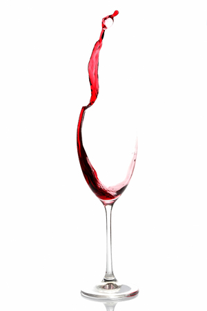 red wine poured from a glass Stock Photo