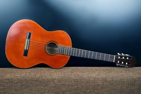 classical acoustic guitar closeup Stock Photo