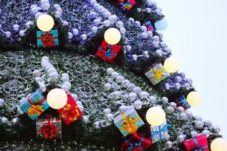 Part of large outdoor Christmas tree closeup