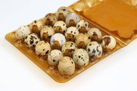 quail eggs in a box close-up on a white background Standard-Bild