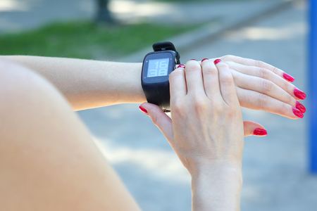 sport watch on a womans hand Stock Photo