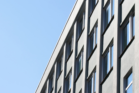 facade of apartment building against the sky Stock Photo
