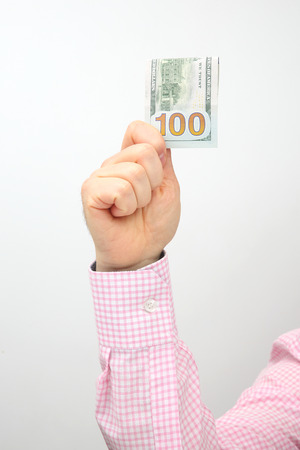 Hand with outstretched money bills. Financial operations. Business relationship Stok Fotoğraf