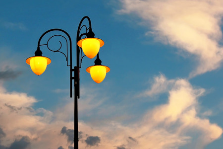 included street lamp against the sky. electrification of industrial enterprises