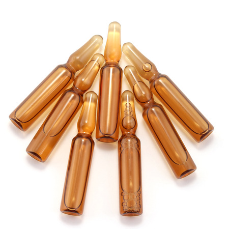 seven medical glass ampoules for injection drug. pharmacology, medicine and treatment of diseases