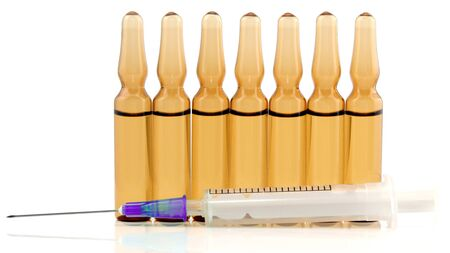 the medical vials for injection drug. pharmacology and medical industry Stock Photo