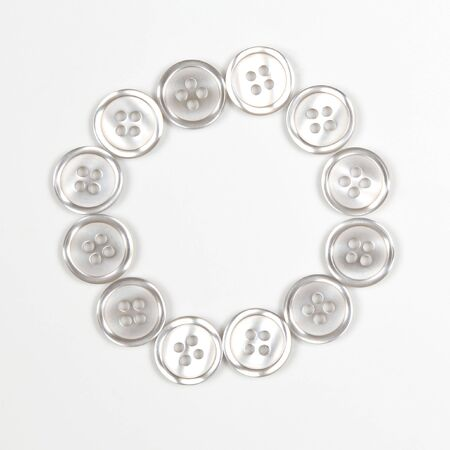 buttons on a white background in the shape of a circle Stockfoto