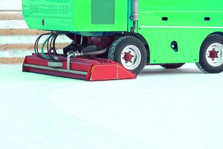special machine ice harvester cleans the ice rink. machinery for the industrial industry