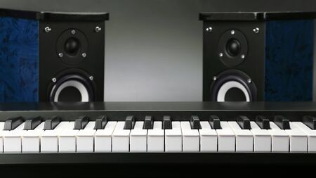 two stereo audio speakers and piano keys closeup on dark background. items for recording