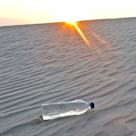 abandoned water bottle in the desert at sunset. thirst and heat