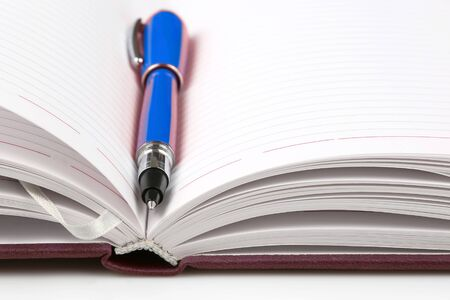 pen lying on an open notebook. subjects for business and education