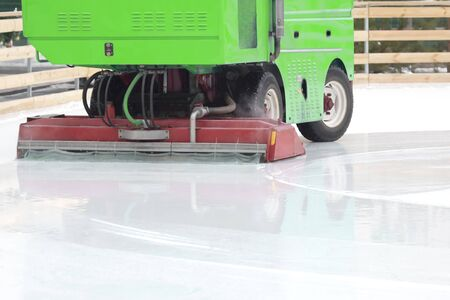 special machine ice harvester cleans the ice rink. motor vehicles for industry