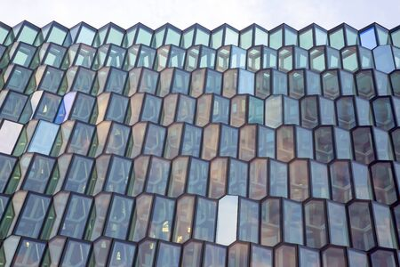 abstract geometric glass facade of the building Stock fotó