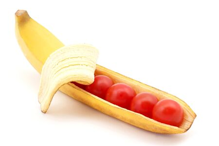 the tomatoes in the shell banana. Healthy and vitamin food