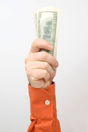 Hand with outstretched money bills. Financial operations. Business relationship Stockfoto