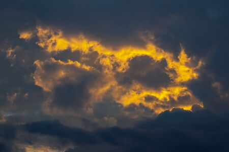 evening sunset with vivid clouds