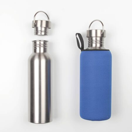 metal steel water flasks on white background