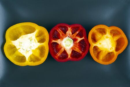 Fresh bell peppers on a plate. Vitamin wholesome food.
