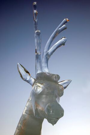 ice figure of a deer. winter fun and entertainment Stok Fotoğraf