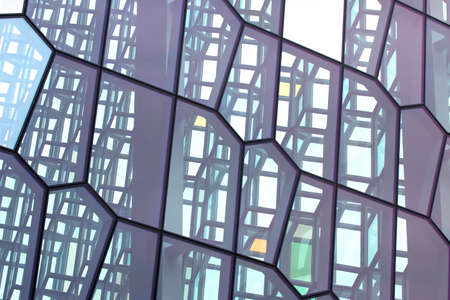 abstract geometric glass facade of the building 스톡 콘텐츠