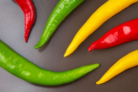 Colored hot chili on a gray background. Pepper. Vegetable vitamin food.