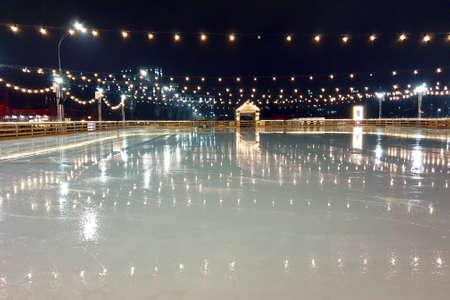 night street ice skating rink Stock Photo