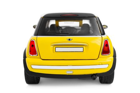mini: Yellow model car - back view