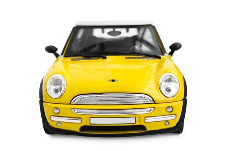 Yellow model car - front view