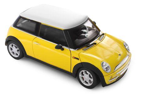 carritos de juguete: Modelo de auto amarillo - vista lateral