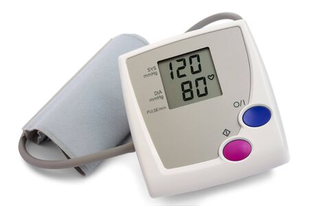 Automatic digital blood pressure monitor over white background photo