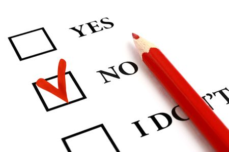 selected: Red pencil and selected tick box with answer No. Stock Photo