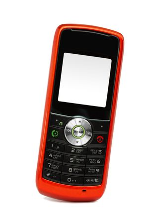 Single mobile phone over white background