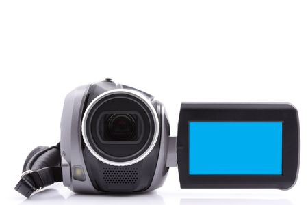 Digital video camera with empty display - over white background Stock Photo