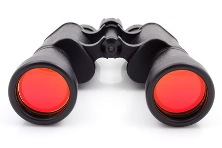 A black binoculars with ruby surface over lenses