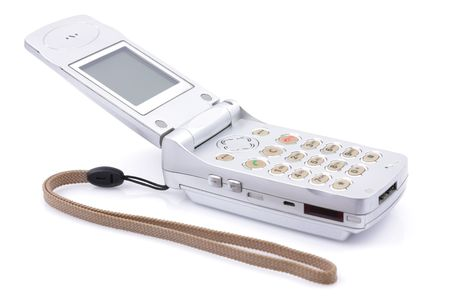 A mobile phone over white background