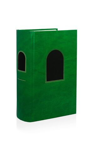 Single green book over white background