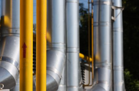 The gas pipeline - focus on yellow pipe with red arrow