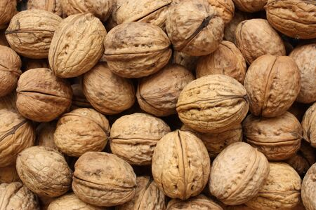 Pile of the walnuts - close-up view.