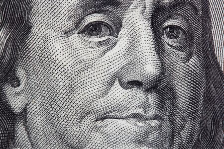 Portrait of Benjamin Franklin from one hundred dollar bill Stock Photo