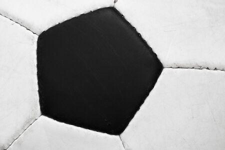 Black pentagon of classic soccer ball - closeup view