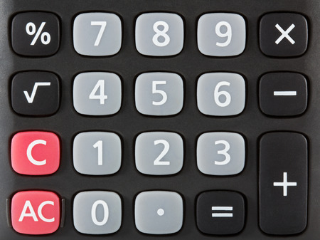Closeup of black calculator keyboard  Front view