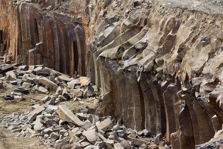 Basalt pillars and some equipment Stock Photo