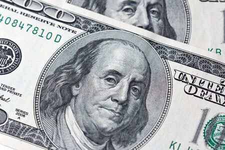 one hundred dollar bill: Benjamin Franklin on one hundred dollar bill Stock Photo