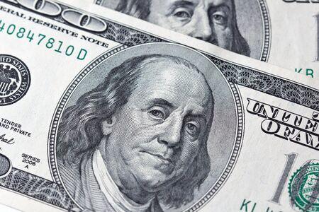 Benjamin Franklin on one hundred dollar bill Stock Photo