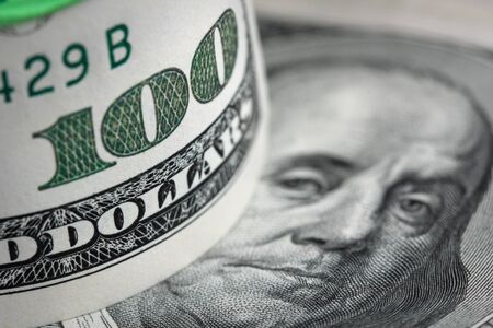 US dollar background. Shallow depth of field.
