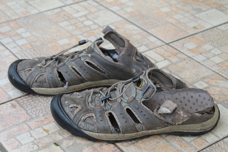 Shoes, couple, old, worn, tourist, broken back, brown, on the tile