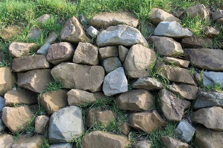 wall of fortification, stones of different caliber,
