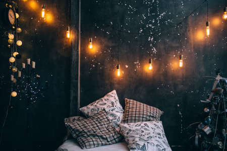 Christmas room with flashlights, holiday atmosphere