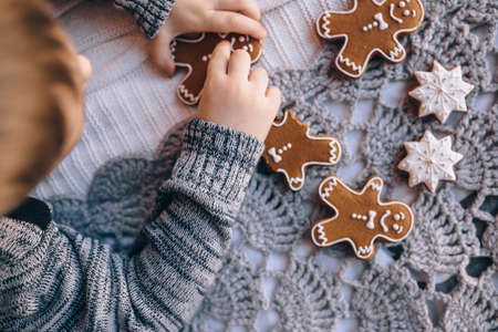 gingerbread cookies lying on the bed